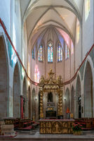 interior view of the Royal Gniezno Cathedral with the altar and nave