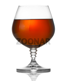 Glass of brandy isolated on white