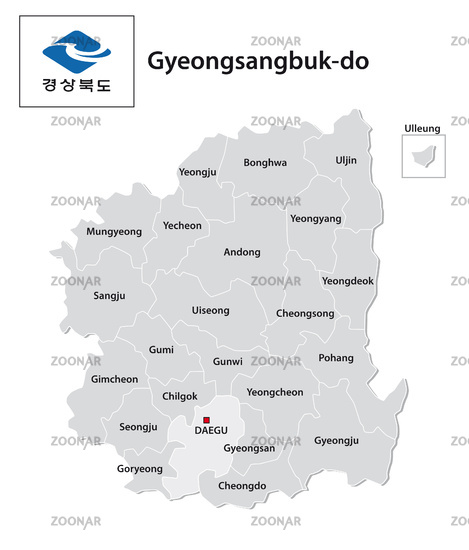 administrative vector map of the South Korean province of Gyeongsangbuk-do with flag