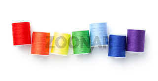 Sewing Threads Arranged Like Rainbow Colors Isolated