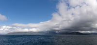 A panorama view of the Vesteralen Islands and the Tjeldsund Strait in northern Norway