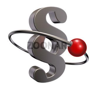rote kugel rotiert um pragraphensymbol - 3d illustration