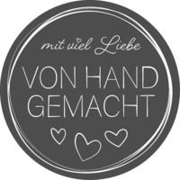 handmade with love sticker with German text