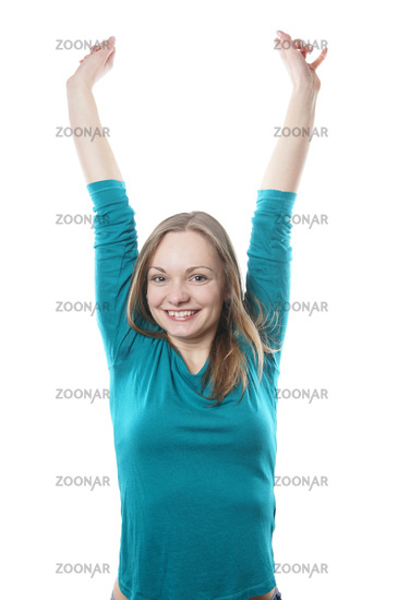 young blonde woman cheering