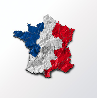France flag on map of country