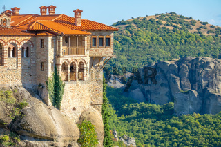 Sunny Summer Day and Balconies of a Rocky Monastery