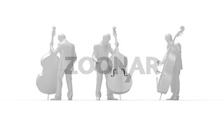 3D rendering of a man playing the contra bass isolated on white background