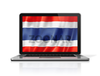 Thai flag on laptop screen isolated on white. 3D illustration