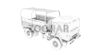 3D rendering of an army truck millitary vehicle logistics lorry isolated in studio background