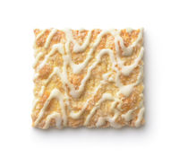 Top view of vanilla frosting drizzled square cookie