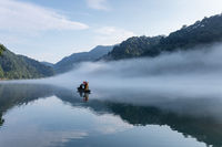 beautiful the little Dongjiang River landscape in early morning