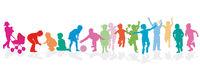 Children group happily together, illustration