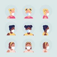 Face masks for children semi flat color vector character avatar set