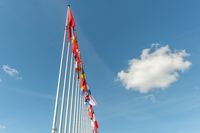 The flags of European countries in front of the Council of Europe.
