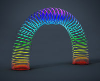 Rainbow colored wire spiral toy. 3D illustration