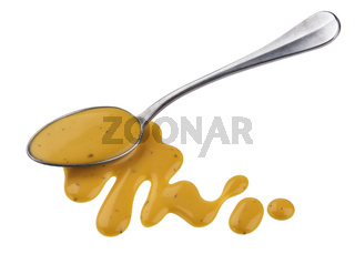 Mustard sauce, honey salad dressing with spoon isolated on white background, top view