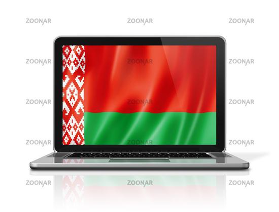 Belarus flag on laptop screen isolated on white. 3D illustration