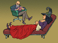 Halloween witch at a psychotherapy session, a psychologist doctor listens to a fairytale character