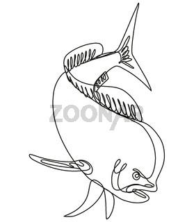 Dorado Dolphin Fish or Mahi Mahi Diving Down Continuous Line Drawing