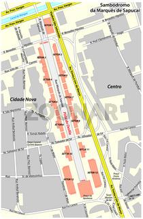 Vector map of the Sambadrome Arena in Rio de Janeiro, Brazil .eps