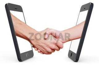 Handschlag per Handy und Smartphone