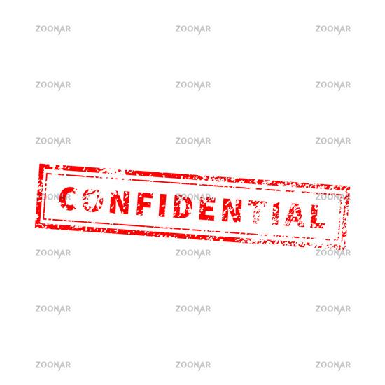 Confidential bright red vintage grunge stamp on white