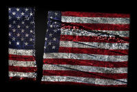 Distressed US flag split in two representing American political division