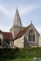 ALFRISTON, EAST SUSSEX, UK - SEPTEMBER 13 : View of St Andrews Church in Alfriston, East Sussex on September 13, 2021