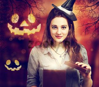 Halloween Cute Witch with Halloween Pumpkins