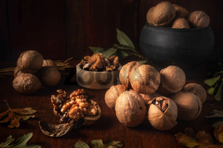 walnuts on a dark background in a rustic style