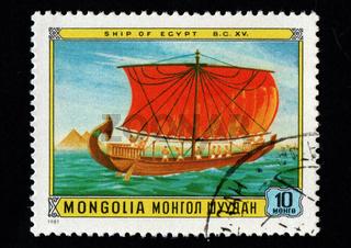 Mongolian post stamp dedicated to Egyptian ship. Ancient ship