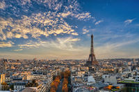 Paris France, high angle view of Eiffel Tower and city skyline with autumn foliage season