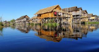 Landscape of wooden houses built in water in Myanmar