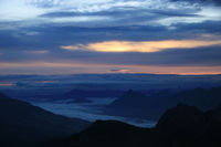 Colorful morning sky and mountains seen from Brienzer Rothorn.
