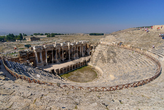 Theatre of Hierapolis, an ancient Greek city, at Pamukkale, Turkey
