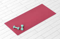 Dumbbells and red fitness mat