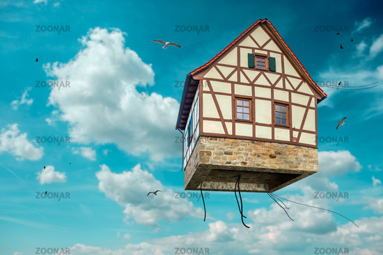 flying house in the sky