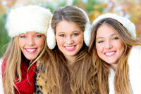 group of winter girls or young women with perfect