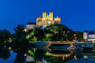 Melk Abbey in Wachau, Austria by night
