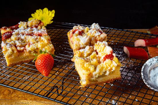 Strawberry rhubarb cake with sprinkles