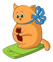 Cartoon Cat on the Scales