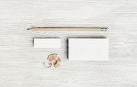 White business card, pencil, eraser
