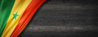 Senegalese flag on black wood wall banner
