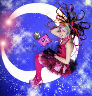 Junge Frau als Fantasie Mondfee