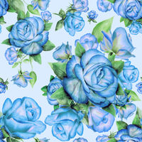 Seamless pattern with blue roses and green leaves on background.