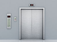 Front view of elevator door and control panel on the corridor. 3D illustration