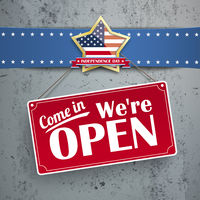 Independence Day Sign Open Concrete Golden Star
