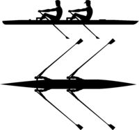 Double scull rowboat team training before competition, black silhouette
