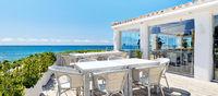 Empty outdoor restaurant near the sea. Spain