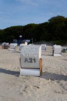 Beach chairs on the beach on the Polish Baltic coast near Kolobrzeg